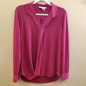 Foxcroft Pink Faux Wrap Long Sleeve Blouse